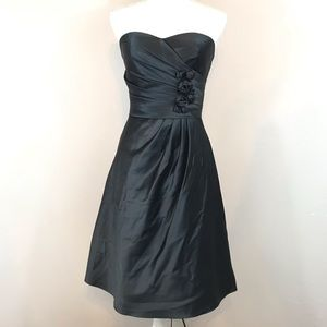 Bill Levkoff Black Satin Sweetheart Dress Size 2